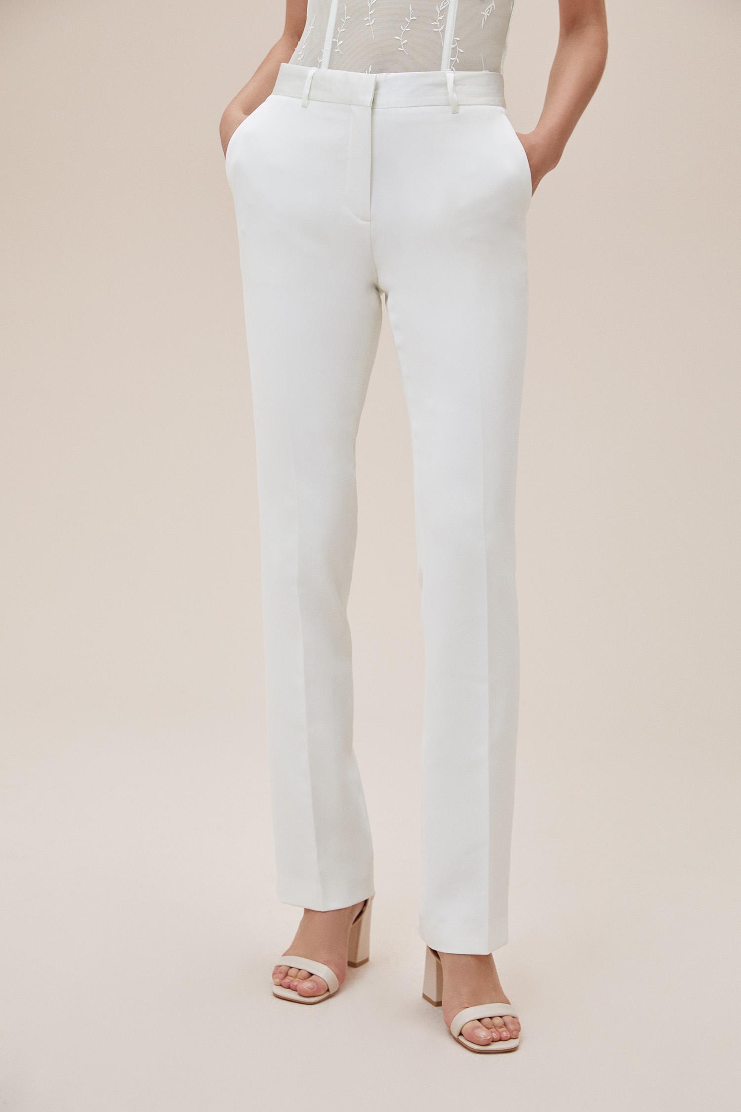 Beyaz Bol Kesim Krep Büyük Beden Pantolonlu Gelinlik - Thumbnail