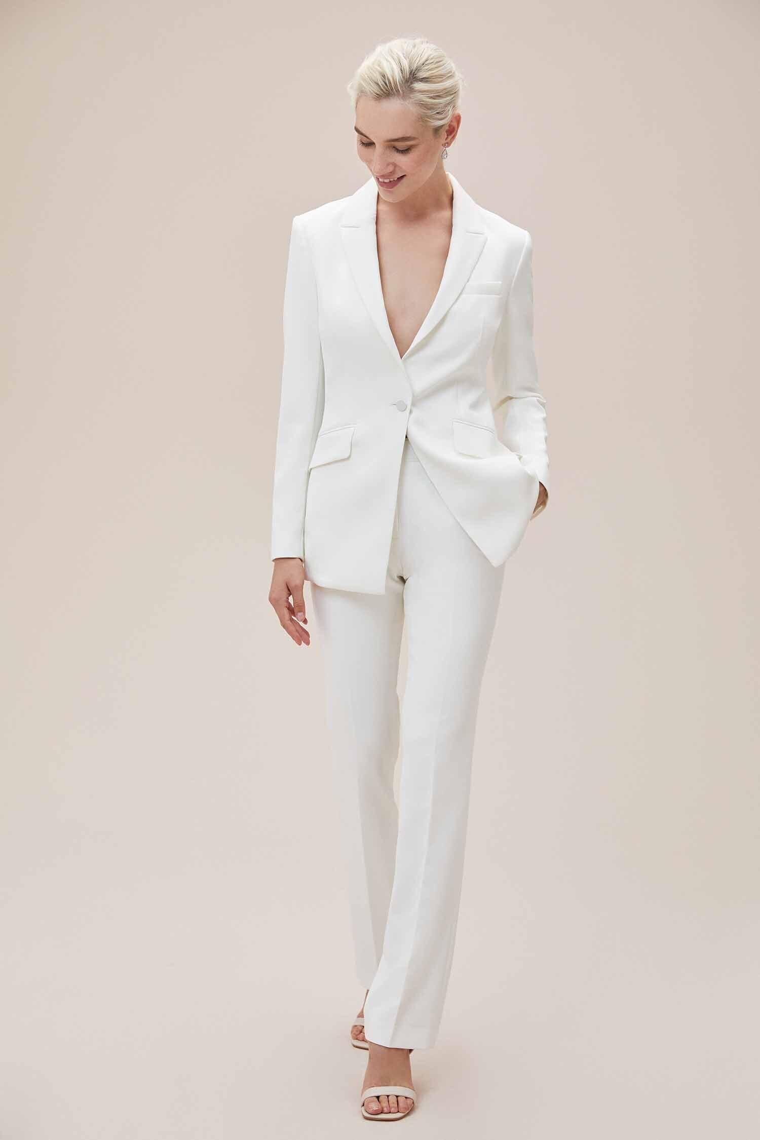 Beyaz Bol Kesim Krep Pantolonlu Gelinlik - Thumbnail