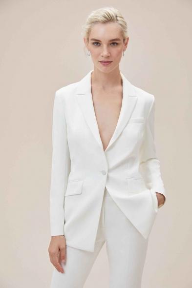 Oleg Cassini - Beyaz Bol Kesim Krep Takım Elbise Büyük Beden Gelinlik Ceketi