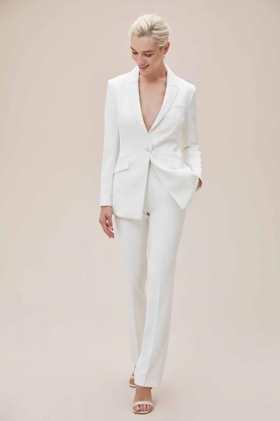 Oleg Cassini - Beyaz Bol Kesim Krep Takım Elbise Büyük Beden Gelinlik Ceketi (1)