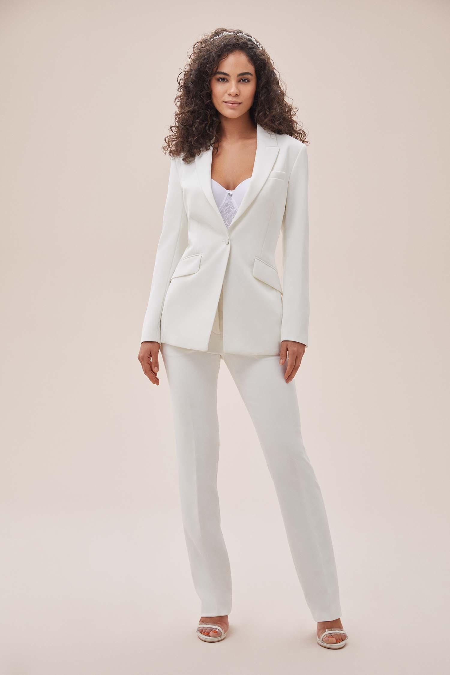 Beyaz Bol Kesim Krep Takım Elbise Büyük Beden Gelinlik Ceketi - Thumbnail
