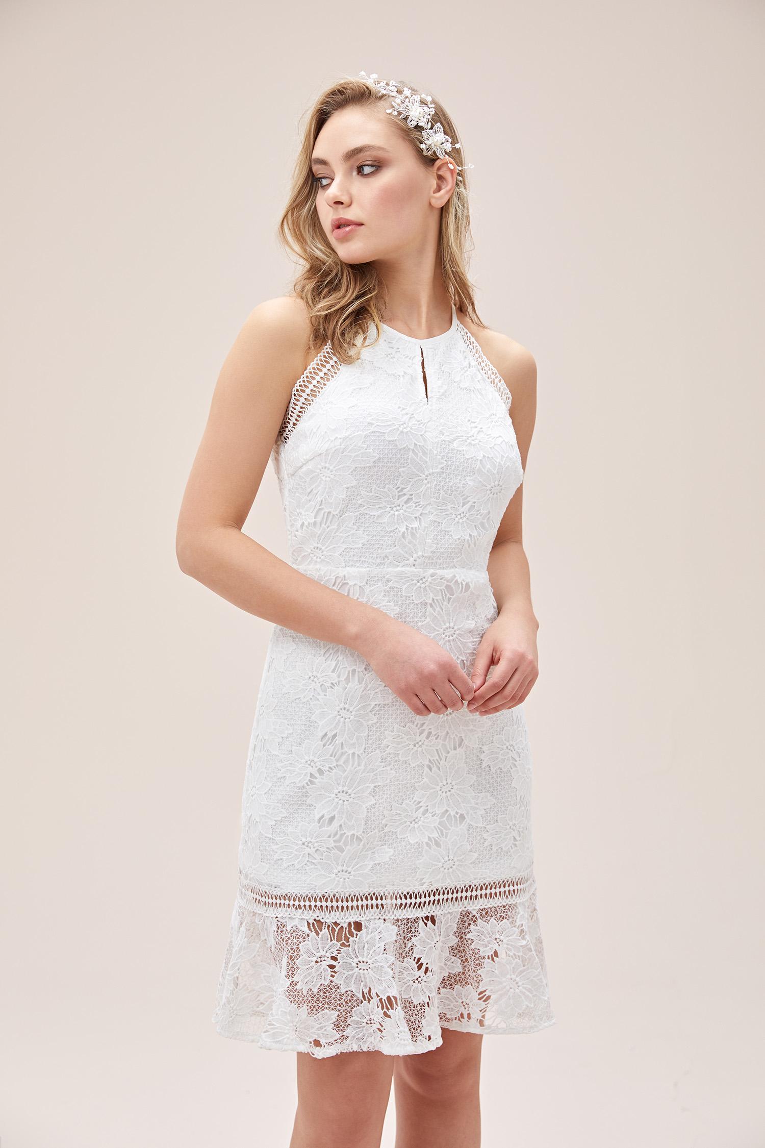 Beyaz Dantel Çiçek İşlemeli Halter Yaka Kısa Nikah Elbisesi - Thumbnail