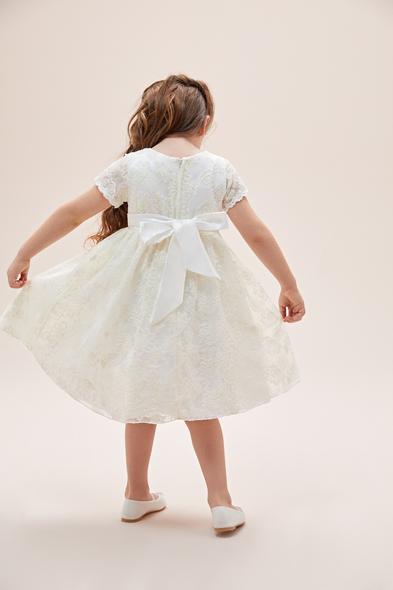 Oleg Cassini - Beyaz Dantel İşlemeli Kısa Kollu Fiyonklu Çocuk Elbisesi (1)
