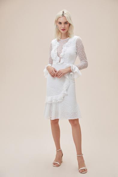 Alfa Beta - Beyaz Dantelli Yakası Fırfırlı Midi Boy Nikah Elbisesi