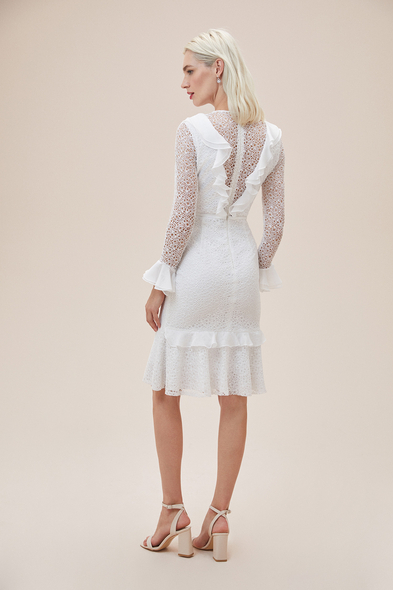 Alfa Beta - Beyaz Dantelli Yakası Fırfırlı Midi Boy Nikah Elbisesi (1)