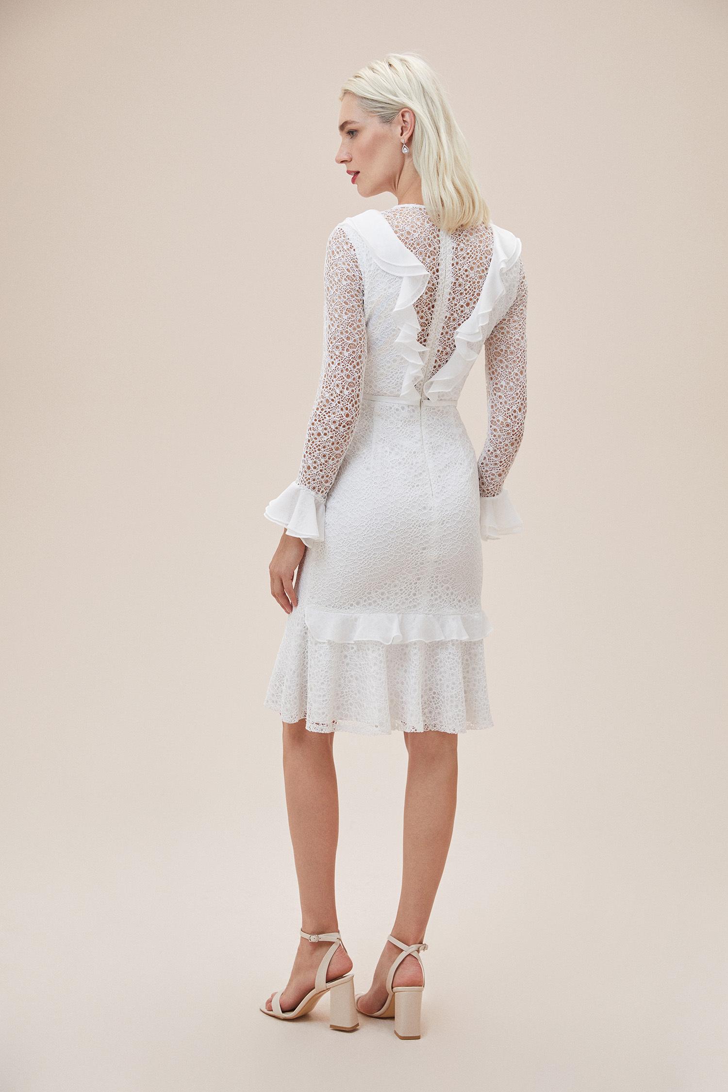 Beyaz Dantelli Yakası Fırfırlı Midi Boy Nikah Elbisesi - Thumbnail