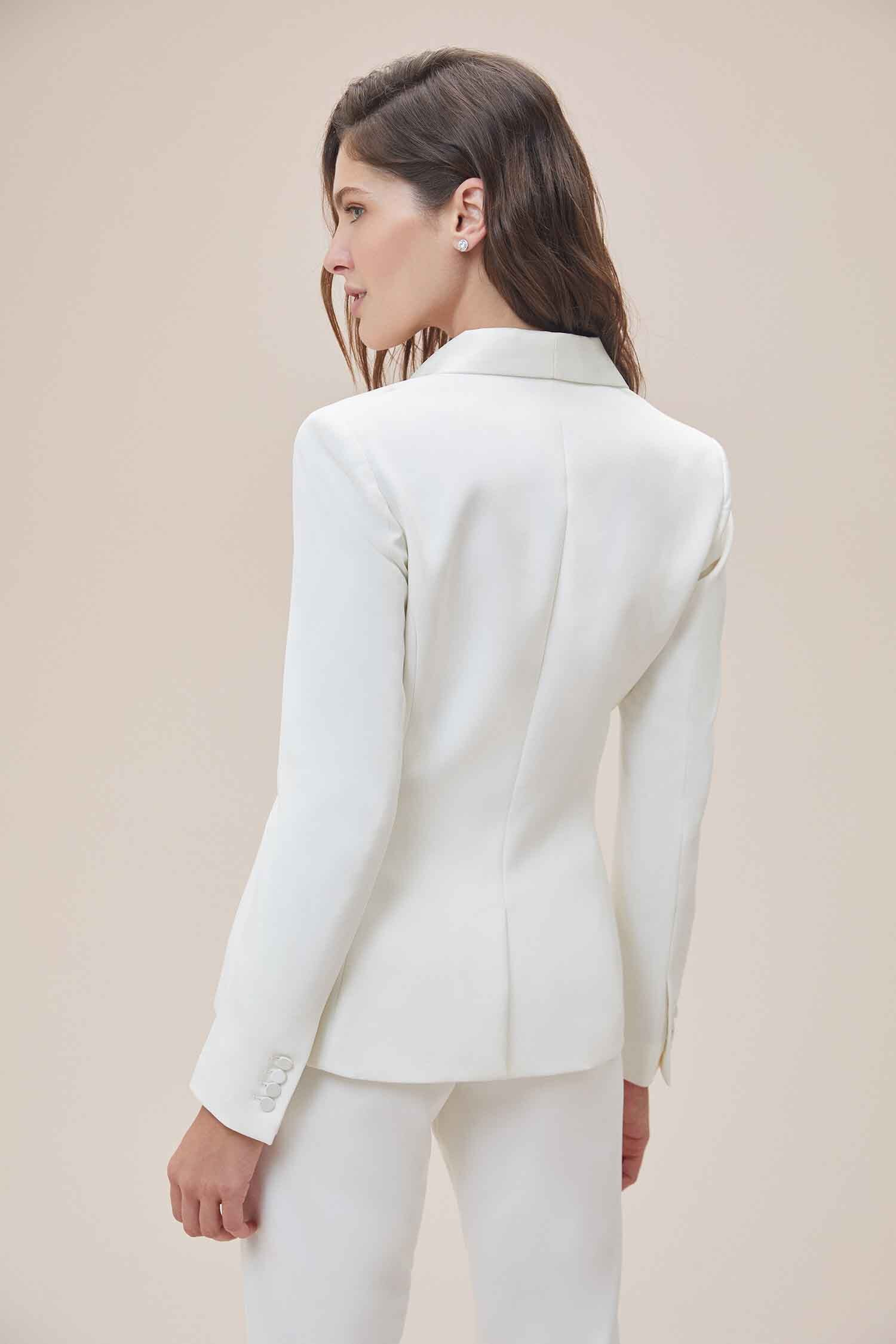 Beyaz Dar Kesim Krep Takım Elbise Gelinlik Ceketi - Thumbnail