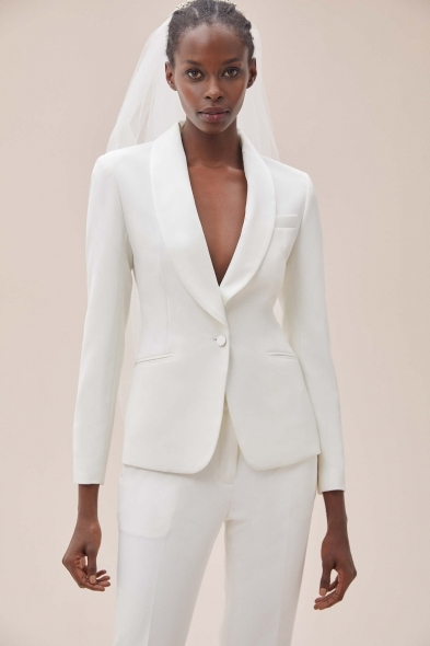 Oleg Cassini - Beyaz Dar Kesim Krep Takım Elbise Gelinlik Ceketi
