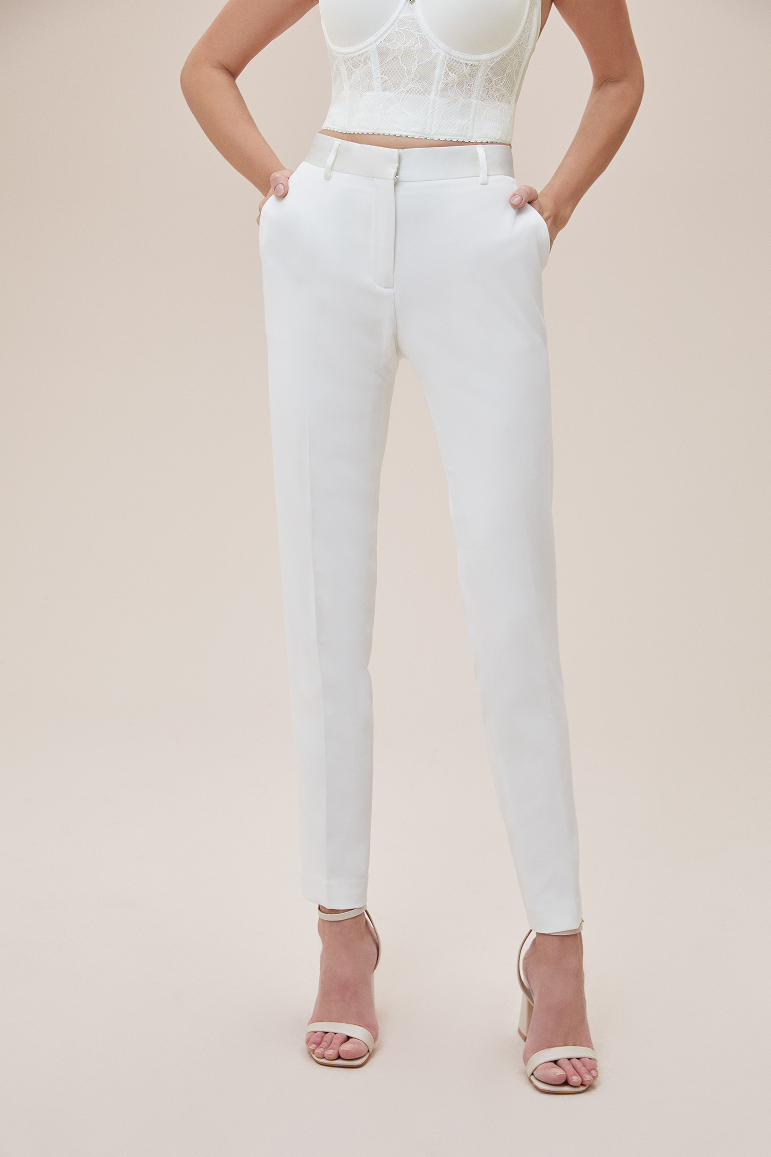 Oleg Cassini - Beyaz Dar Kesim Takım Elbise Büyük Beden Gelinlik Pantolonu