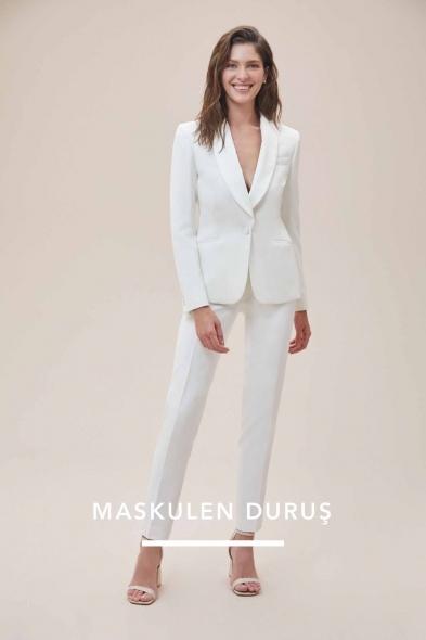 Oleg Cassini - Beyaz Dar Kesim Takım Elbise Gelinlik Pantolonu