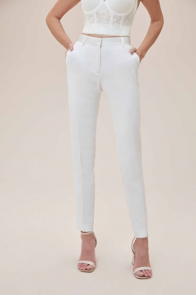 Oleg Cassini - Beyaz Dar Kesim Takım Elbise Gelinlik Pantolonu (1)
