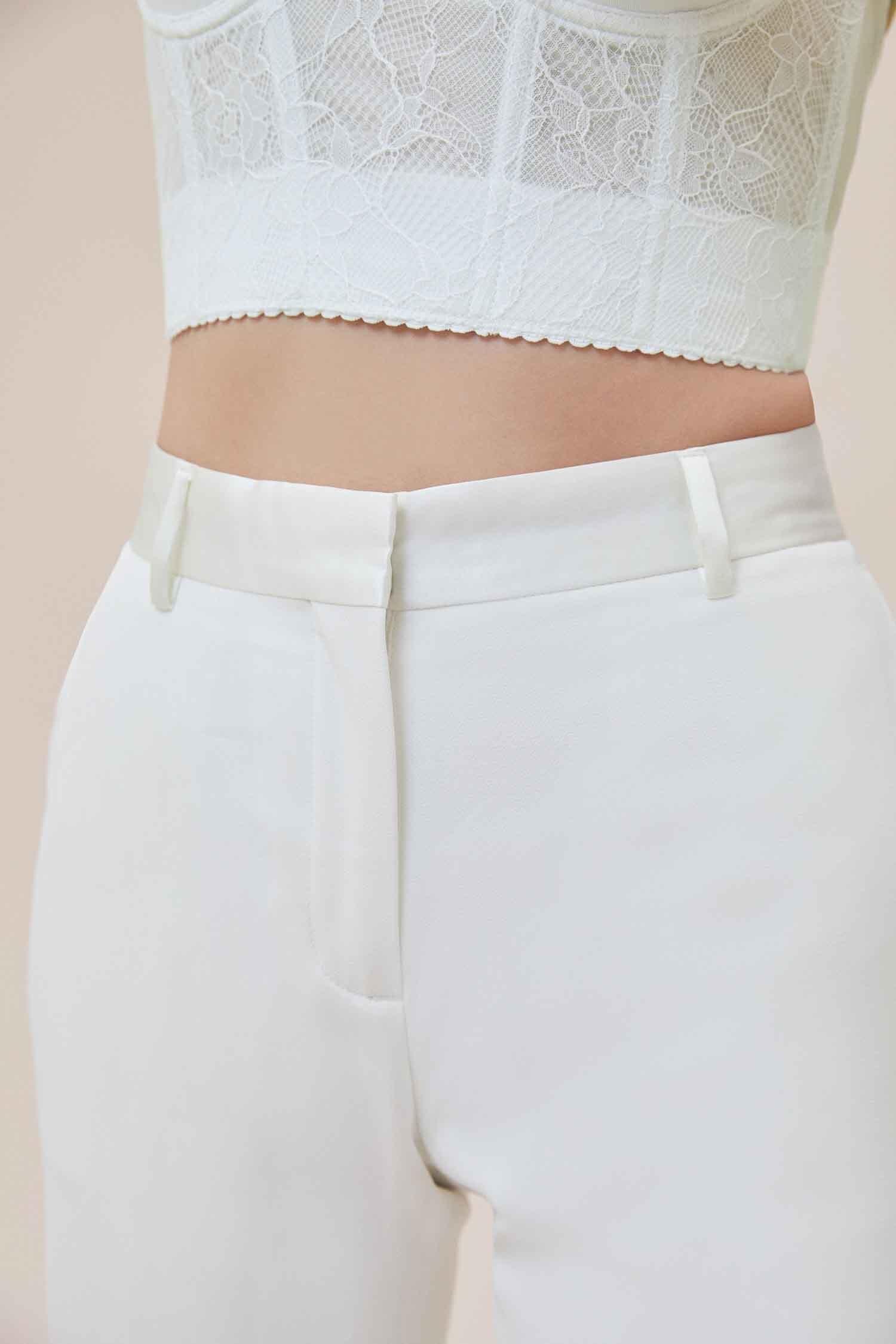 Beyaz Dar Kesim Takım Elbise Gelinlik Pantolonu - Thumbnail