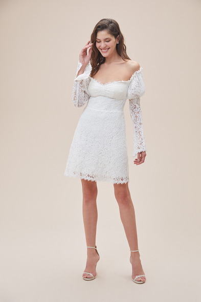 Alfa Beta - Beyaz Düşük Omuz Uzun Kollu Midi Boy Büyük Beden Nikah Elbisesi