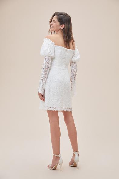 Alfa Beta - Beyaz Düşük Omuz Uzun Kollu Midi Boy Büyük Beden Nikah Elbisesi (1)