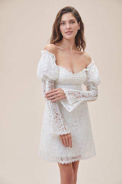 Alfa Beta - Beyaz Düşük Omuz Uzun Kollu Midi Boy Nikah Elbisesi
