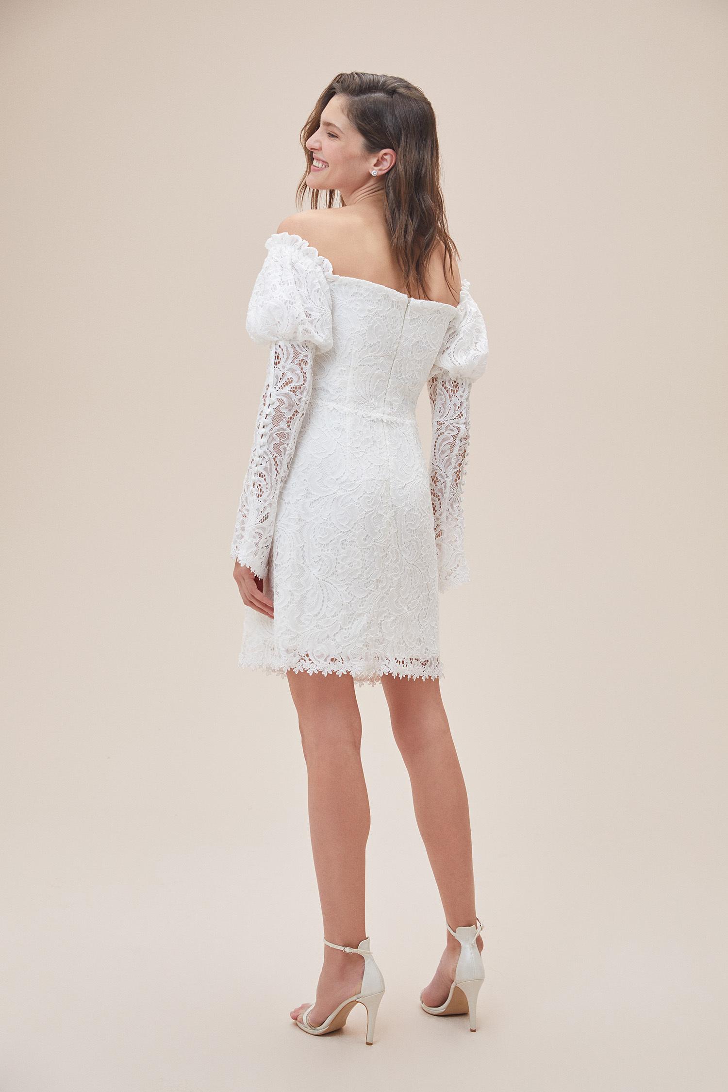 Beyaz Düşük Omuz Uzun Kollu Midi Boy Nikah Elbisesi - Thumbnail