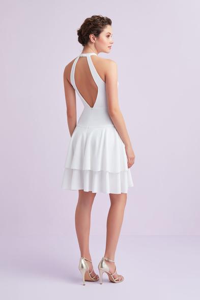 - Beyaz Halter Yaka Krep Kısa Büyük Beden Nikah Elbisesi - Oleg Cassini