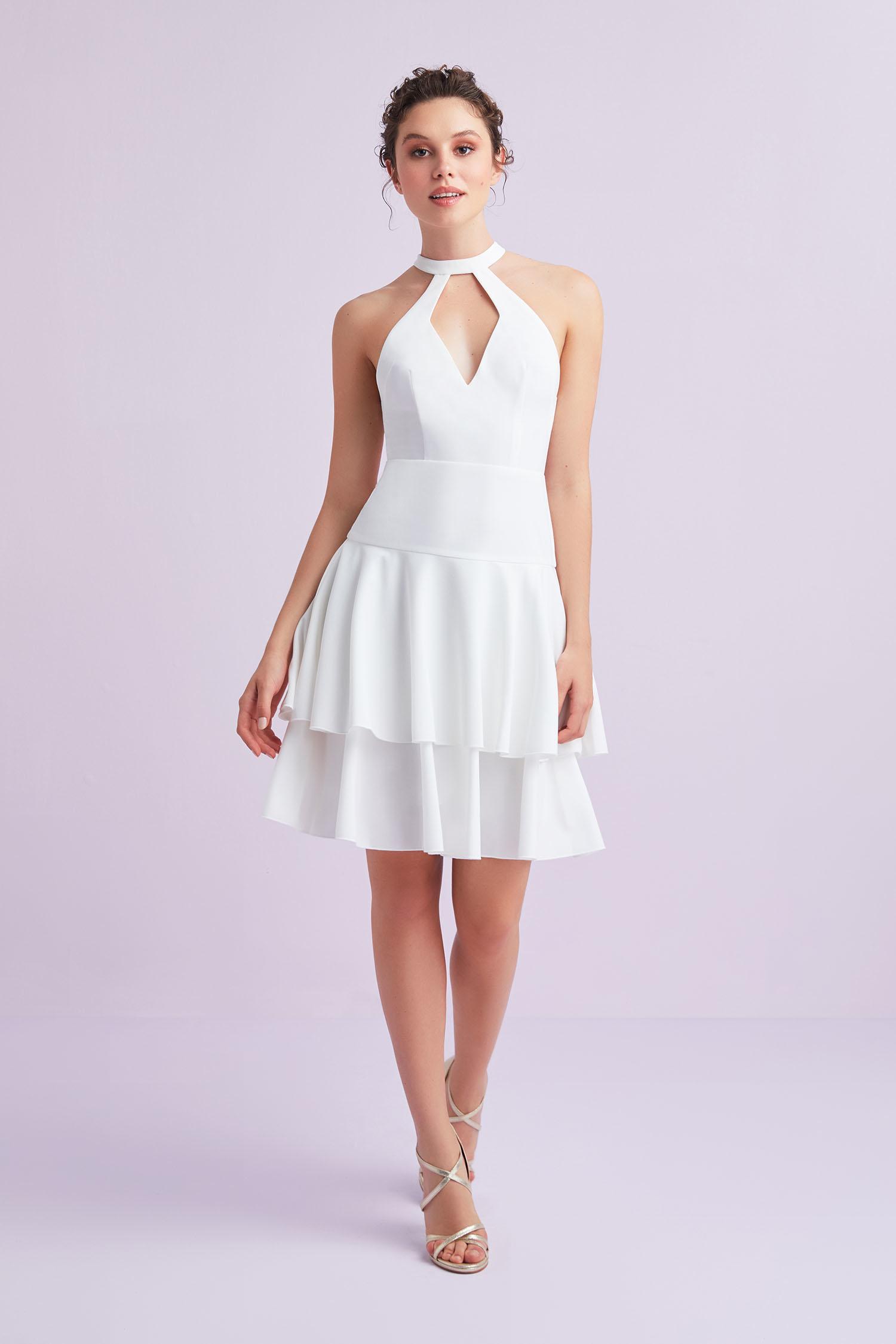 Beyaz Halter Yaka Krep Kısa Büyük Beden Nikah Elbisesi - Thumbnail
