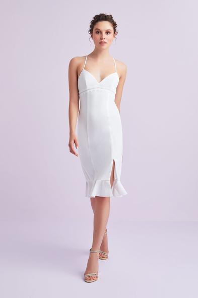Beyaz İnce Askılı Krep Kısa Büyük Beden Nikah Elbisesi - Oleg Cassini