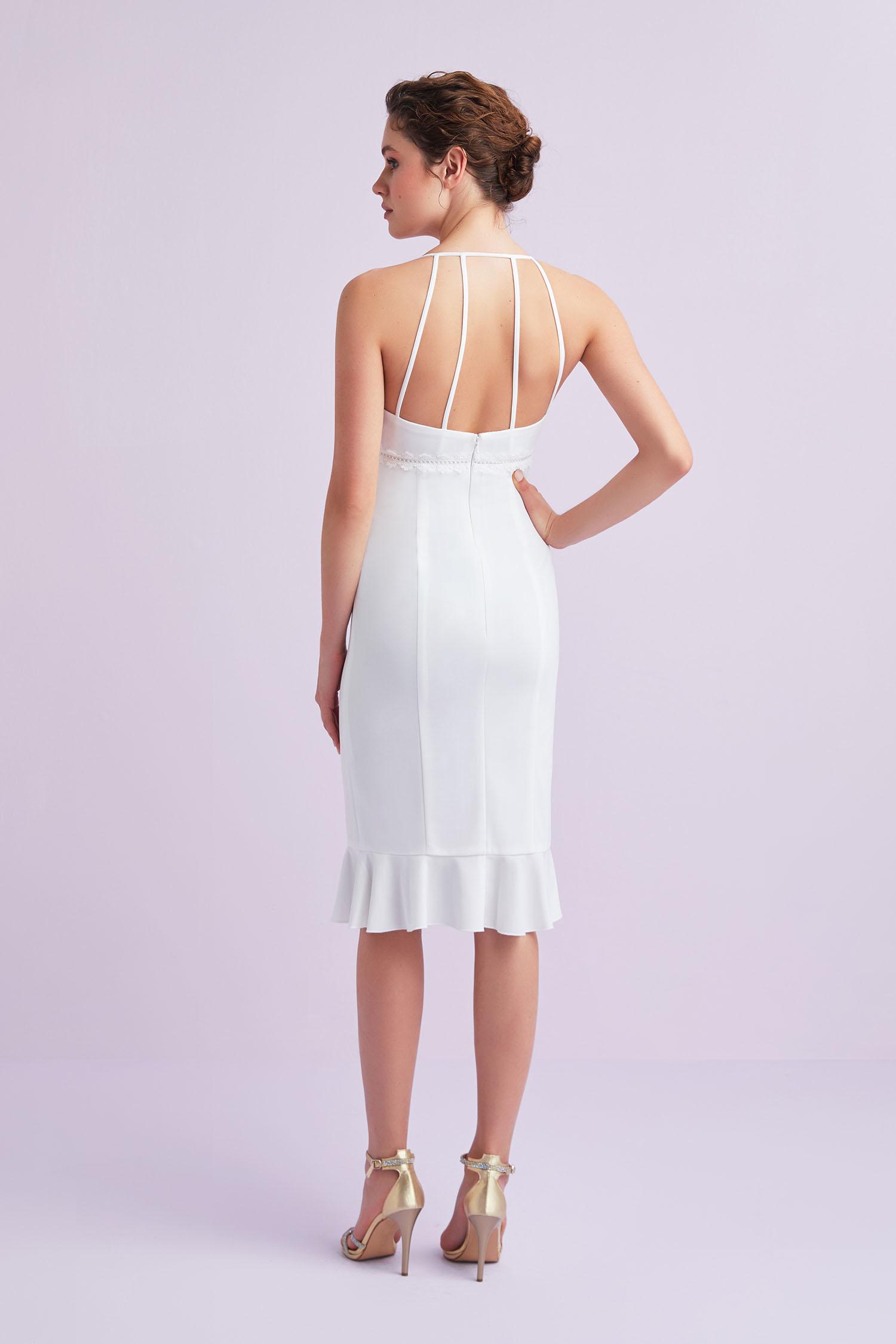 Beyaz İnce Askılı Krep Kısa Büyük Beden Nikah Elbisesi - Thumbnail