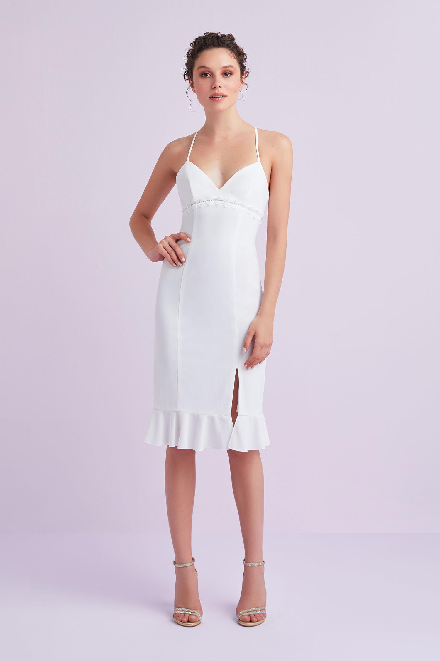 Beyaz İnce Askılı Krep Kısa Nikah Elbisesi