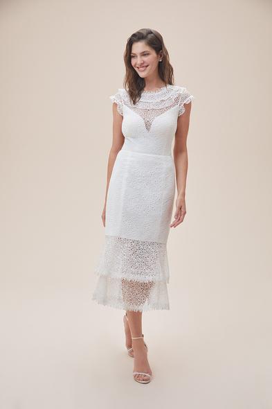 Alfa Beta - Beyaz Kap Kol Dantel İşlemeli Midi Boy Nikah Elbisesi