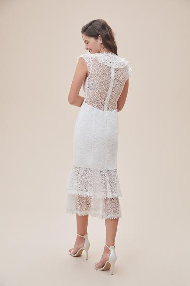 Alfa Beta - Beyaz Kap Kol Dantel İşlemeli Midi Boy Nikah Elbisesi (1)