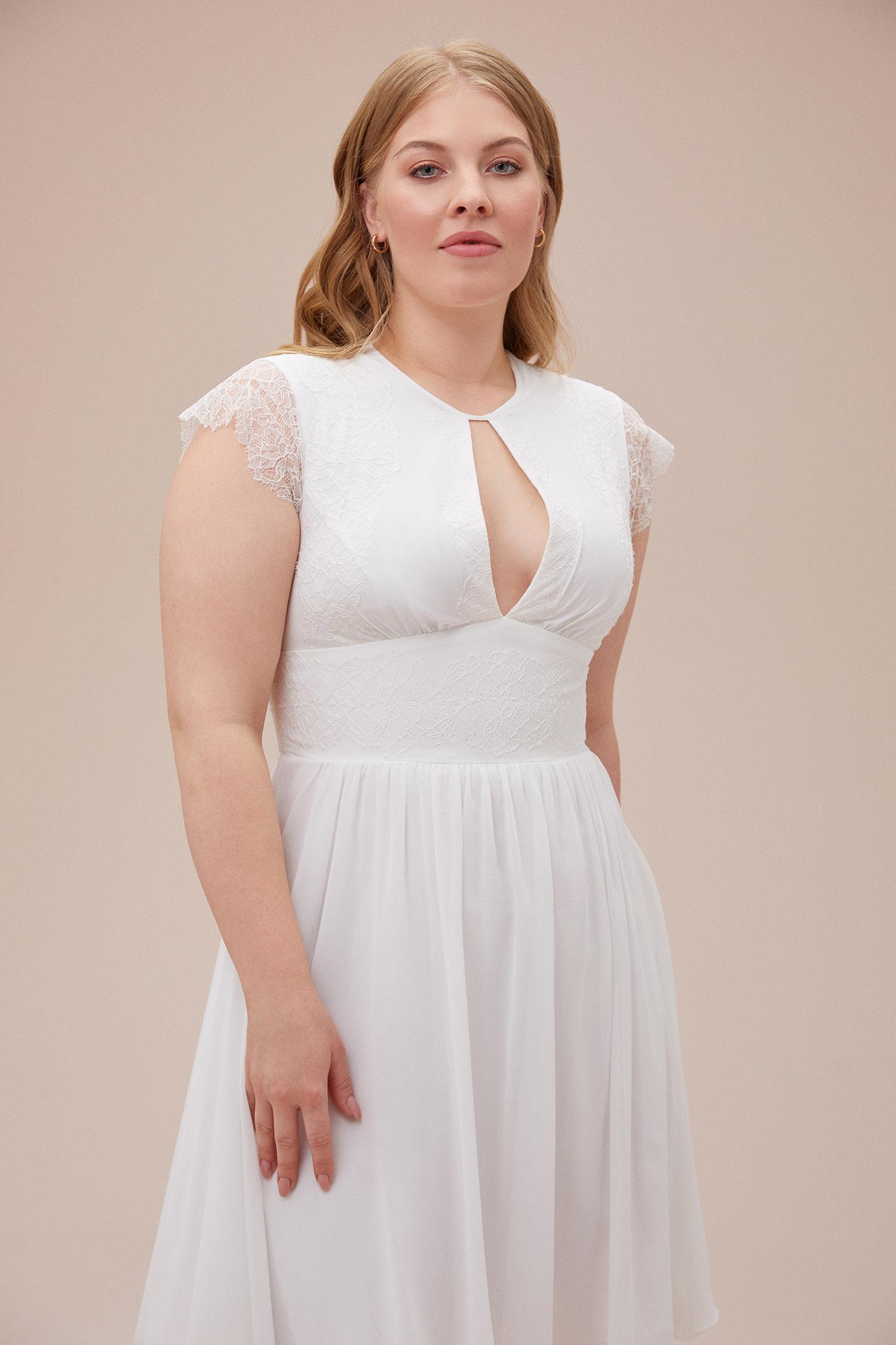 Beyaz Kap Kol Şifon Midi Boy Büyük Beden Nikah Elbisesi - Thumbnail