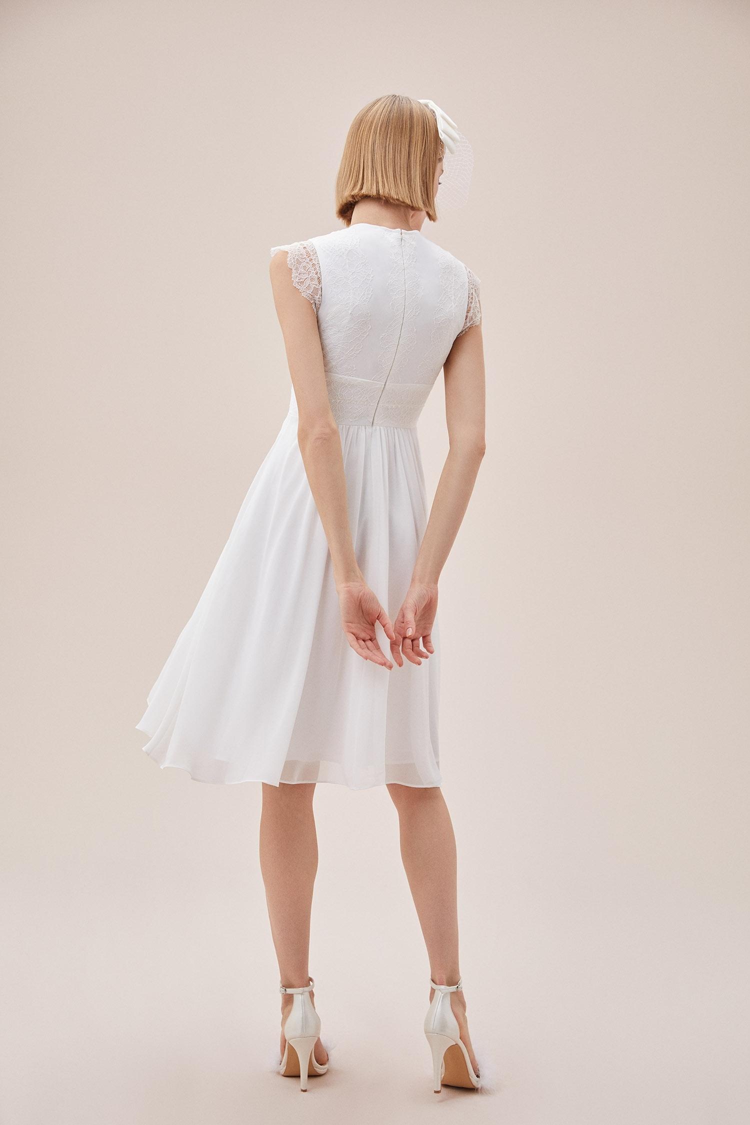 Beyaz Kap Kol Şifon Midi Boy Nikah Elbisesi - Thumbnail
