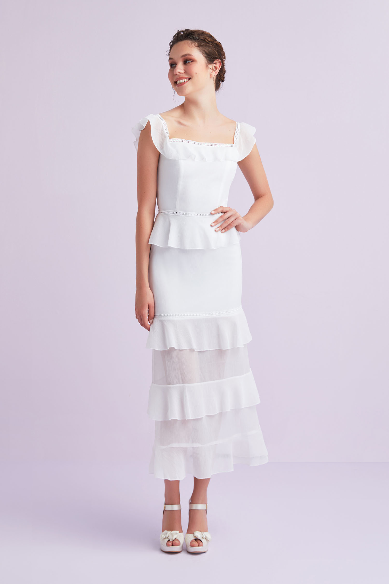 Beyaz Kayık Yaka Şifon Uzun Büyük Beden Nikah Elbisesi - Thumbnail