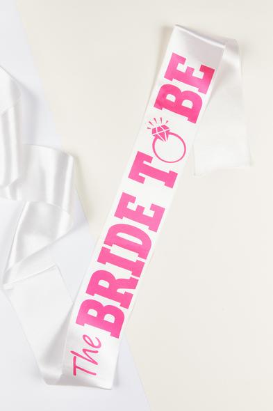 OLEG CASSINI TR - Beyaz Pembe The Bride to Be Kuşağı