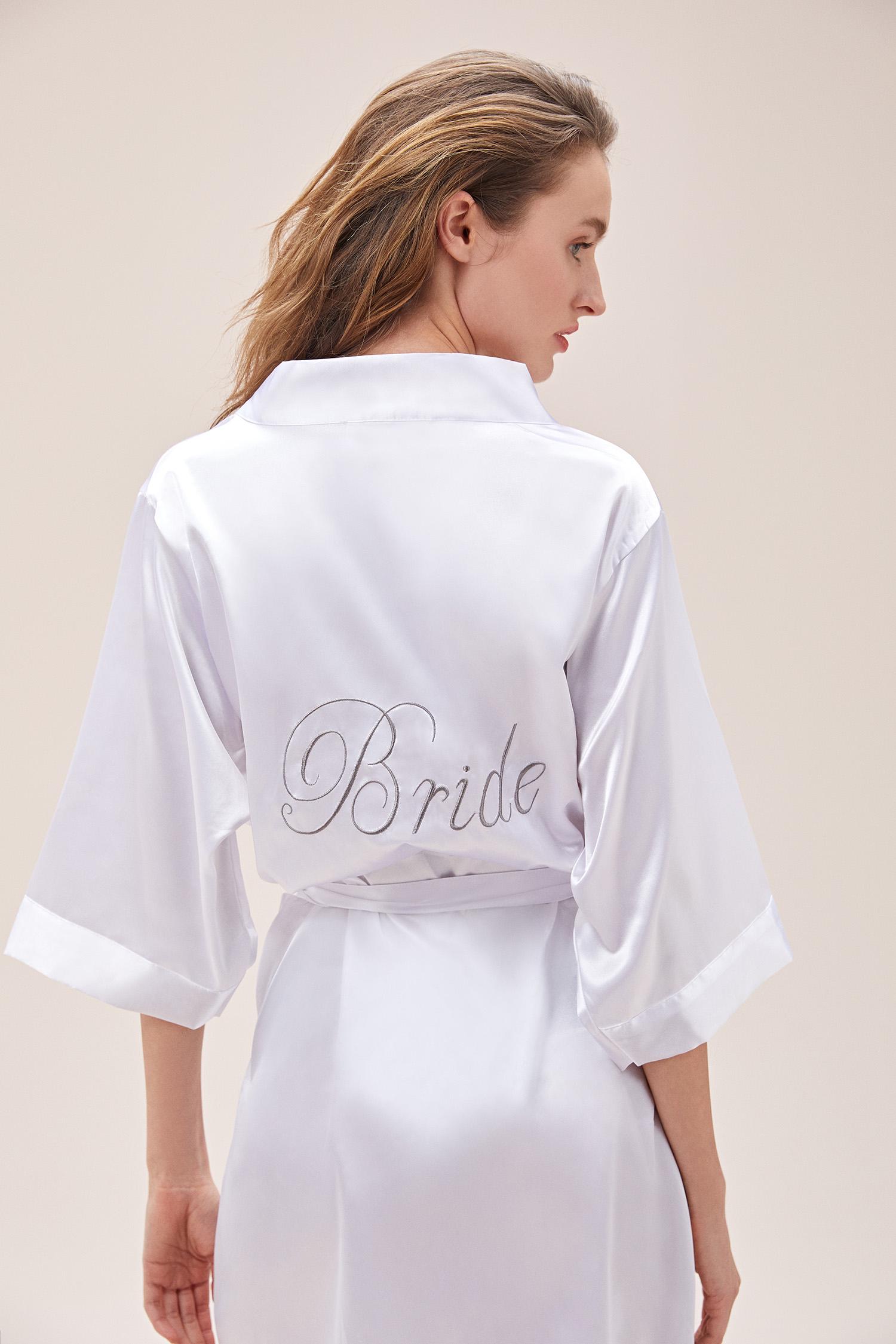 Beyaz Saten Bride Yazılı Gelin Sabahlığı - Thumbnail