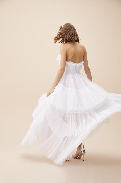 VC by Viola Chan - Beyaz Straplez Tül Önü Kısa Arkası Uzun Elbise (1)