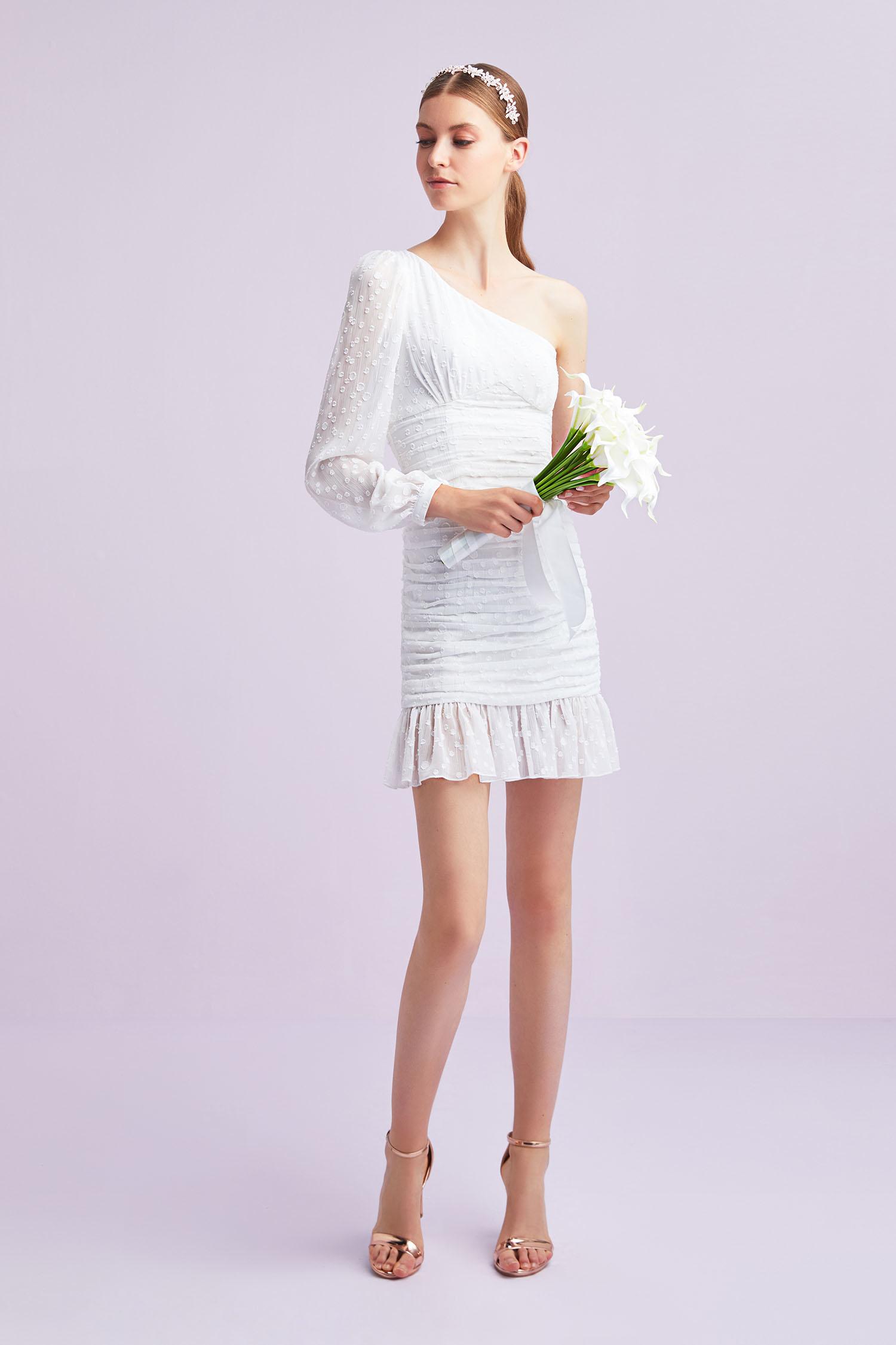 Beyaz Tek Omuz Şifon Kısa Büyük Beden Nikah Elbisesi - Thumbnail