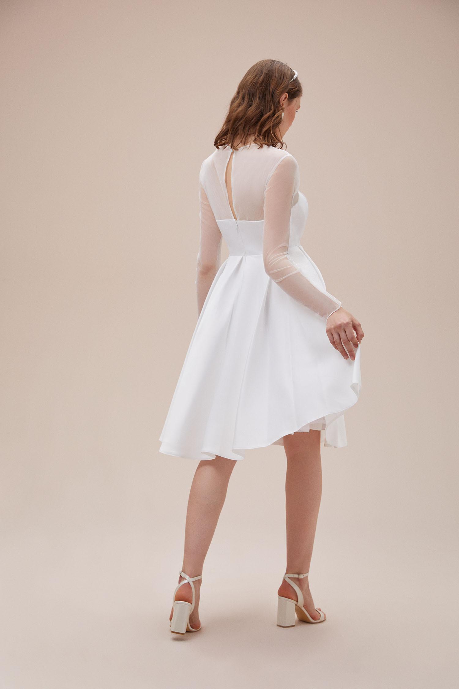 Beyaz Tül Yaka ve Uzun Kollu Saten Midi Boy Nikah Elbisesi - Thumbnail
