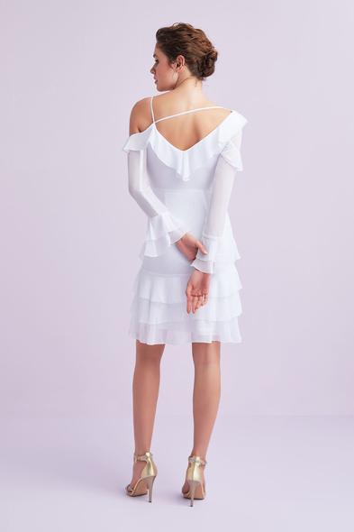 - Beyaz Uzun Kollu Farbalalı Şifon Kısa Büyük Beden Nikah Elbisesi - Oleg Cassini