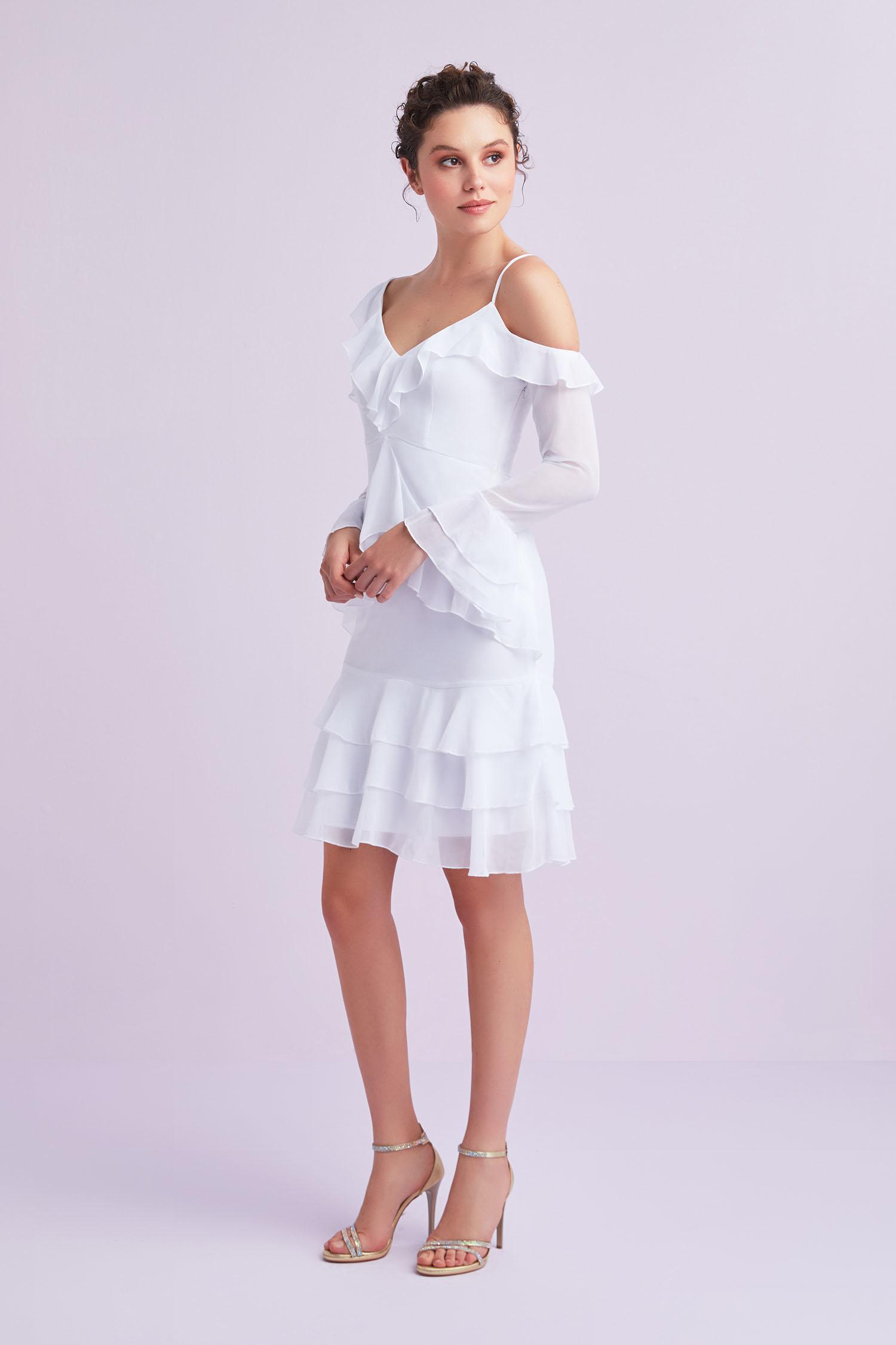 Beyaz Uzun Kollu Farbalalı Şifon Kısa Büyük Beden Nikah Elbisesi - Thumbnail