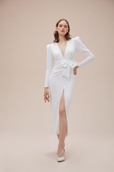 Alfa Beta - Beyaz Uzun Kollu Yırtmaçlı Midi Boy Jarse Nikah Elbisesi (1)