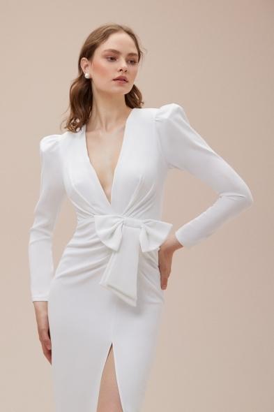 Alfa Beta - Beyaz Uzun Kollu Yırtmaçlı Midi Boy Jarse Nikah Elbisesi