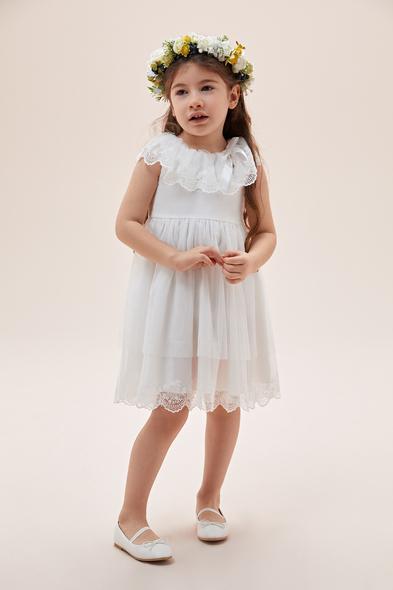 Oleg Cassini - Beyaz Yakası Dantel İşlemeli Çocuk Elbisesi