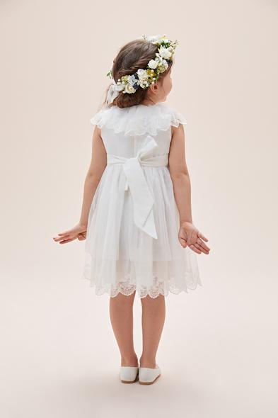 Oleg Cassini - Beyaz Yakası Dantel İşlemeli Çocuk Elbisesi (1)