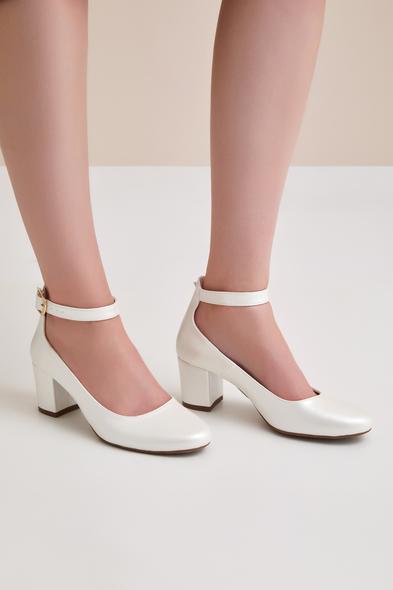 OLEG CASSINI TR - Bilekten Bağlı Orta Boy Topuklu Gelin Ayakkabısı