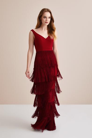 Viola Chan - Bordo Askılı Uzun Kat Kat Püsküllü Abiye Elbise