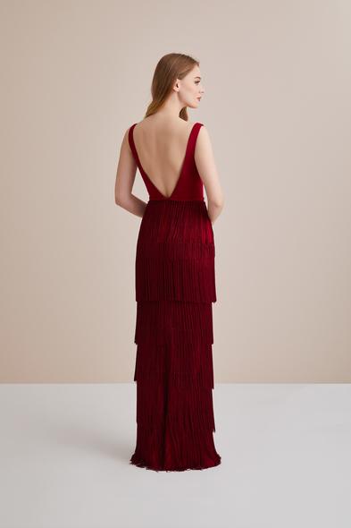 Viola Chan - Bordo Püskülü Askılı Dar Uzun Abiye Elbise