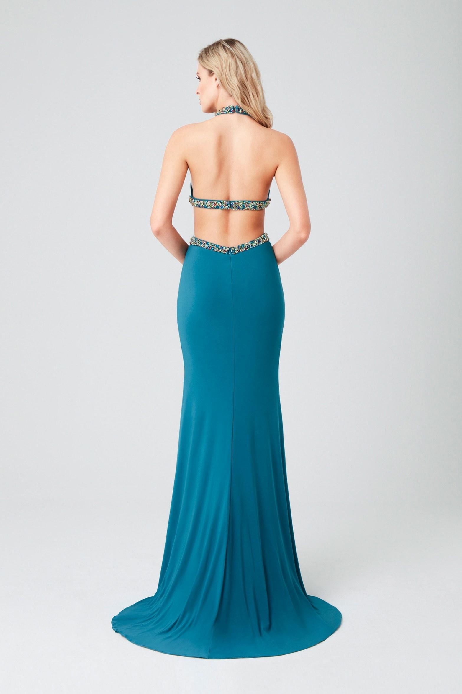 Viola Chan - Mavi Boyundan Bağlı Jarse Uzun Abiye Elbise