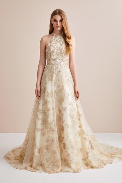 Viola Chan Premium - Boyundan Bağlı Payet İşlemeli Tül Etekli Abiye Elbise