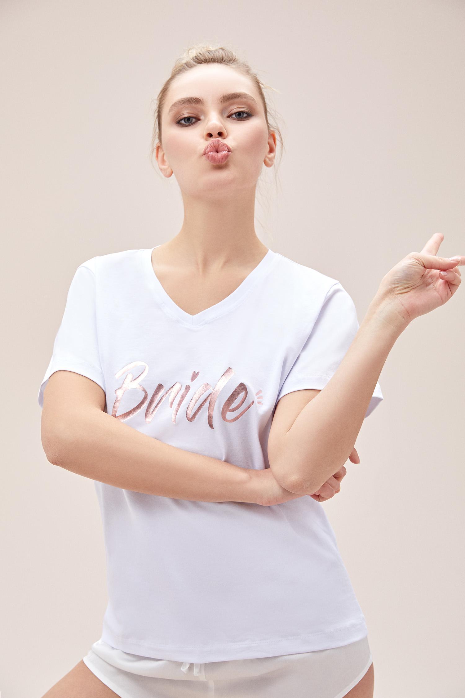 Bride Tişörtü Beyaz Baskılı - Thumbnail