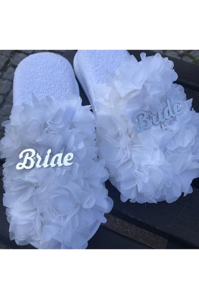 SK Organizasyon & Tasarım - Bride Yazılı Tüylü Havlu Terlik