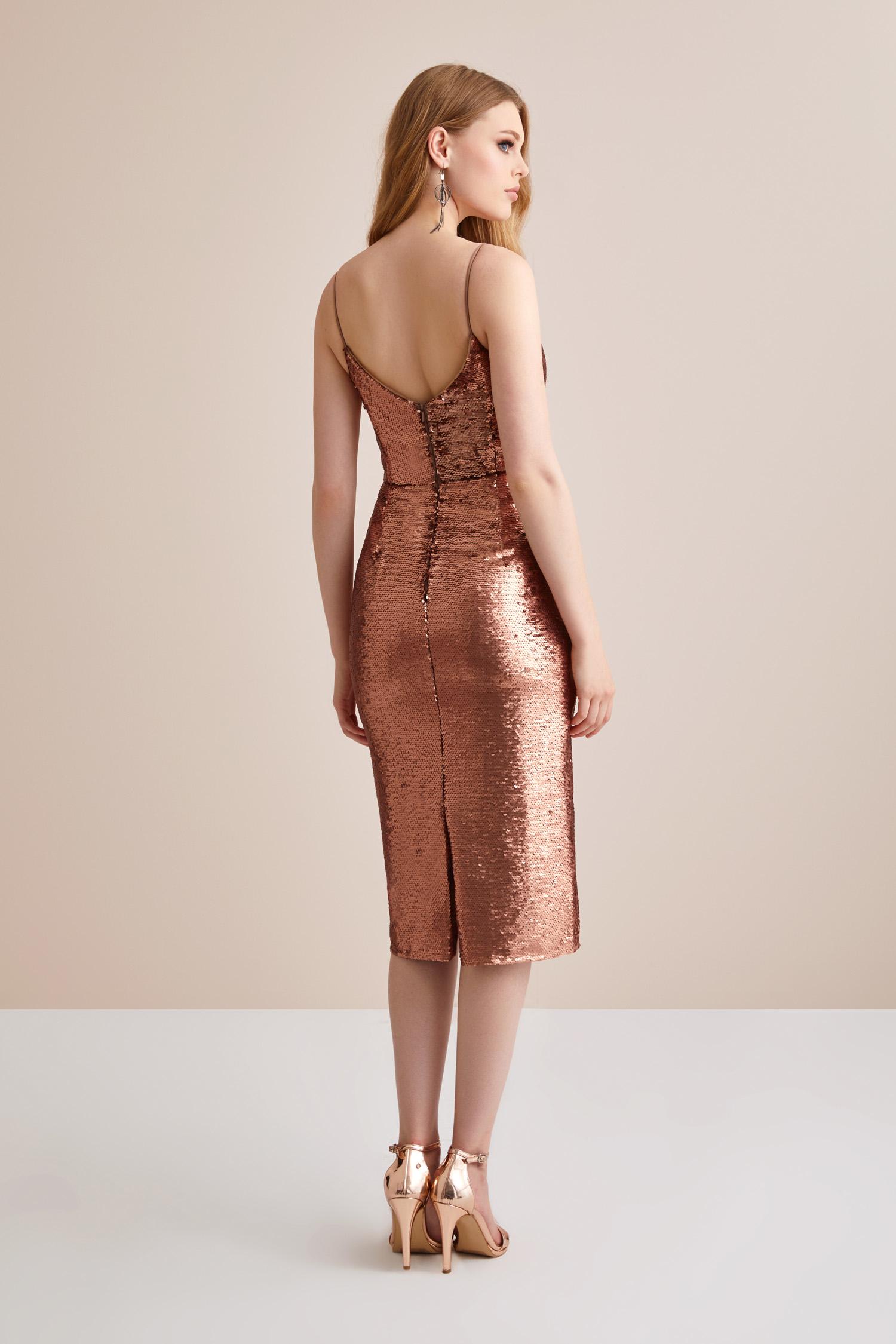 Bronz İp Askılı Pullu Abiye Elbise - Thumbnail
