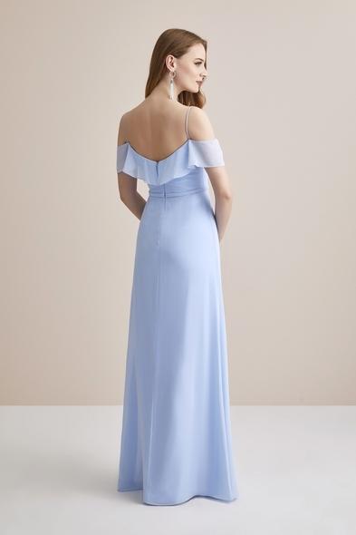 Buz Mavisi Şifon Kolları Tül Uzun Abiye Elbise